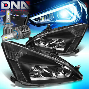 For 2003 2007 Honda Accord Coupe sedan Headlights W led Kit cool Fan Assembly