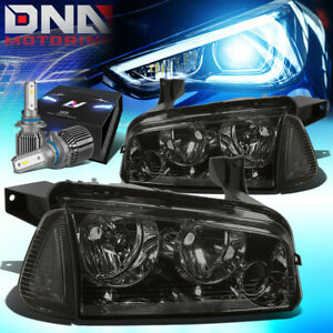 For 2006 2010 Dodge Charger Lx Turn Corner Headlight W led Kit cool Fan Smoked