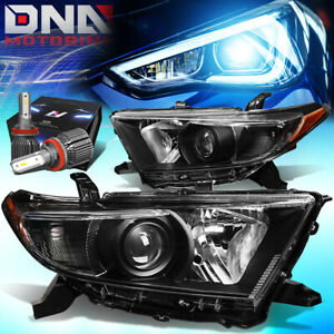 For 2011 2013 Toyota Highlander Projector Headlights W led Kit cool Fan Black
