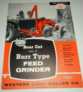 Bear Cat 12b Burr Type Feed Grinder Mill Sales Brochure Western Land Roller Co