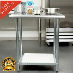 18 Gauge Stainless Steel Commercial Kitchen Work Prep Table Shelf 24 X 30