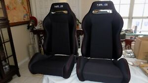 Brand New Nrg Innovations Style Bucket Seats Black Suede Pair Left And Right