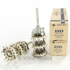 Nos Nib Vintage Lot Of 2 Centralab Model 2525 Rotary Selector Switches 6pol 5pos