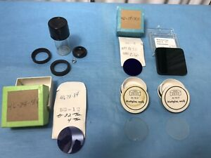 Various Lot Of 5 Microscope Filter Zeiss Germany Etc Diffuser Lens Optics
