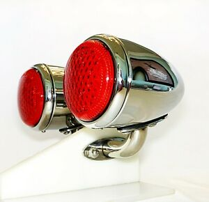 Chrome 1937 Ford Led Tail Lights With Custom S s Mounting Brackets 1 Pair 12v