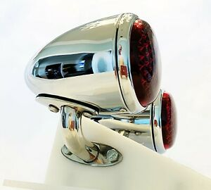 12v Chrome Ford 1937 Tail Lights With Custom S s Mounting Brackets 1 Pair