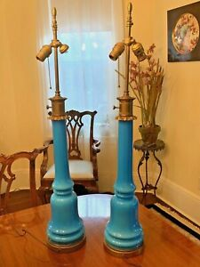 Rare Huge Pair Of Vintage Blue Opaline Table Lamps Reduced