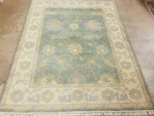 6 X4 Hand Knotted Turkish Oushak Pishawar Design Muted Green Fine Wool Rug