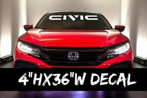 Honda Civic White Windshield Vinyl Lettering Decal Sticker Emblem Logo Graphic