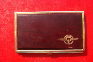 Vintage Romanian Railways Cfr Wood And Stainless Steel Business Card Holder