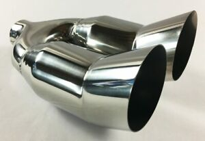 Exhaust Tip 2 25 Inlet Dual 3 00 Outlet 11 25 Long Slant Stainless Steel Wdtu