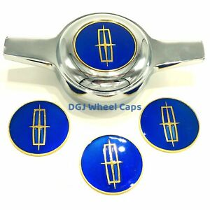 Lincoln Blue On Gold Lowrider Wire Wheel Metal Chips Emblems Size 2 25