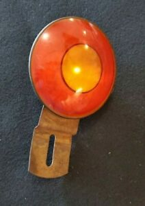 Vintage Curved Red Glass Reflector Accessory Jalopy Harley Tag License Topper