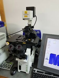 Olympus Microscope Ix81 With Fluorescence And Mmi Laser