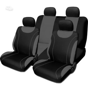 New Sleek Black And Grey Flat Cloth Car Truck Seat Covers Set For Ford