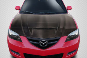 04 08 Mazda Mazda 3 4dr M speed Carbon Fiber Creations Body Kit Hood 115133