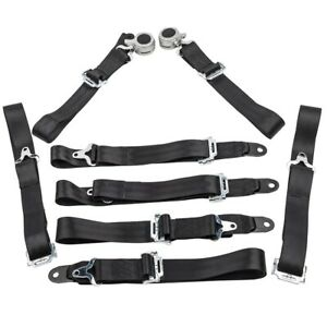 2 Sets 4 Point Racing Safety Seat Belt 2 Strap Harness Camlock Seatbelt