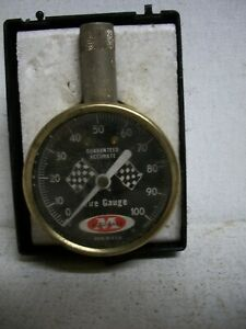 Vintage Meiser Usa Precision Accu gage Tire Gauge Checkered Race Flags