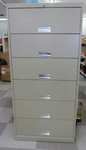 Hon Six Shelf Lateral Locking File Cabinet With Receding Doors putty Color