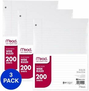 Mead Loose Leaf Paper Filler Paper Wide Ruled 200 Sheets 10 1 2 X 8 3 Pac