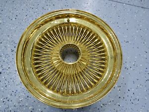16x7 Inch All 24kt Gold 100 Spoke Usa Wire Wheel Dayton Zenith Style New 1