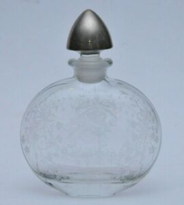 Antique Crystal Glass Decanter With Sterling Silver Stopper