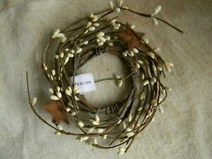 Rusty Stars Cream Pip Berry 2 5 Candle Wreath Primitive Country Home Decor
