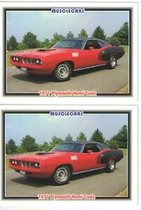 1971 Plymouth Cuda 426 Hemi Baseball Card Sized Cards Must See Lot Of 2