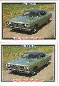 1969 Plymouth Road Runner 426 Hemi Baseball Card Sized Cards Must See Lot Of 2