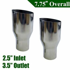 Sliver 2 5 In 3 5 Out Exhaust Single Layer Slant Cut Tip Polished Stainless X2