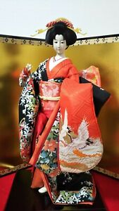 Vintage Japanese Geisha Doll In Kimono 23 On Wooden Base Antiques 30 40years