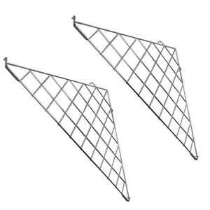 2 Pc Chrome Corner Triangle Wire Grid Shelf Slat Grid Panel 24 X 24 X 32