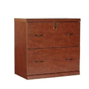 Lateral Locking File Cabinet 2 Drawer Home Office Furniture Shelf Wooden Cherry