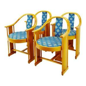 Vintage Art Deco Style Colber Italian Bentwood Armchairs Set Of 4