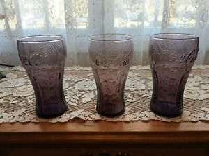 COCA COLA GLASSES - MCDONALD'S PROMOTIONAL - PURPLE - SET OF 3 - FREE SHIPPING