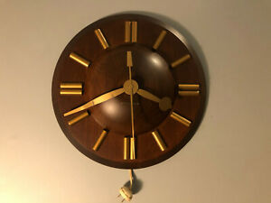 Vintage Mcm Mid Century Modern Seth Thomas Wall Clock Working