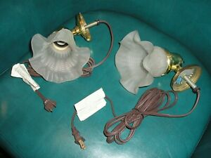 Set Of 2 Vintage Glass And Brass Plug In Wall Mounted Lamps