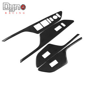Door Window Lock Switch Lift Cover Carbon Fiber Painted For Honda Civic 16 19