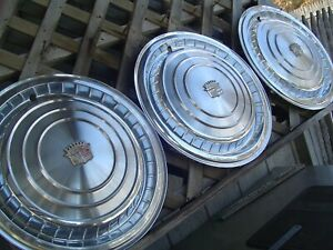 3 1960 60 Cadillac Cady Fleetwood Deville Eldorado Hubcaps Wheel Covers Antique