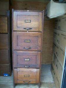 Vintage Weis Antique Wood Filing Cabinet Wooden Mission Style 52 X 18 X 24