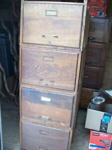 Vintage Antique Wood Filing Cabinet Wooden Mission Style 52 X 18 X 24