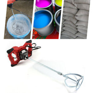 Electric Mortar Mixer 1500w Dual High Low Gear 6 Speed Paint Cement Grout Fast