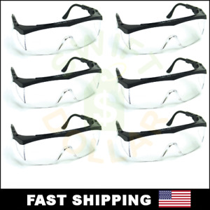 6 Pair Pack Protective Safety Glasses Clear Lens Work Uv Ansi Z87 Lot Of 6