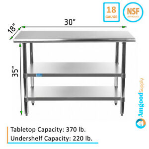 18 X 30 Stainless Steel Work Table With 2 Shelves Kitchen Food Prep Nsf