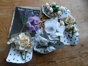 Bunches Antique Old Vintage Wired Fabric Millinary Flowers