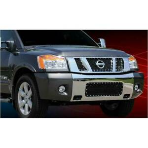 T Rex Black X Metal 3pc Studded Main Grille W Logo Open For Nissan Titan 08 14