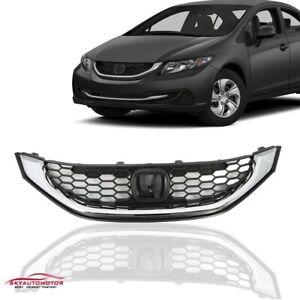 Fit For Honda Civic 2013 2014 2015 Seden Front Upper Grille With Trim Chrome