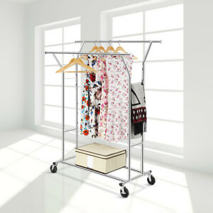 Adjustable Double Rail Rolling Heavy Duty Garment Rack Shelf Hanger Organizer