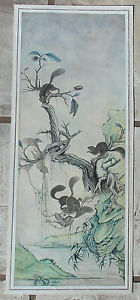 Watercolor Ink Squirrels Chestnuts Hanging Scroll Painting After Chinese Hua Yan