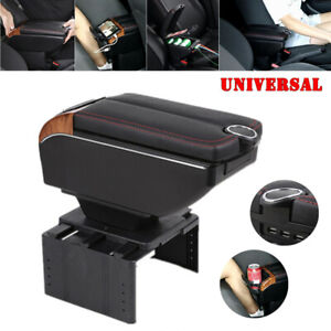 7usb Charging Car Dual Opening Armrest Box Central Console Cup Holder Pu Leather